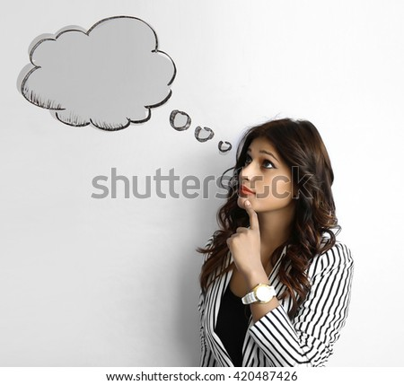 Young asian woman with long hair thinking bubble on white Background