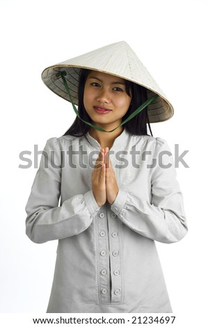 young asian woman with typical welcome expression - stock photo