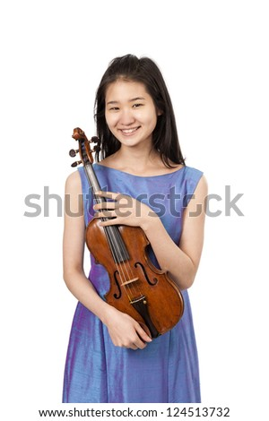 young asian woman with violin - stock photo