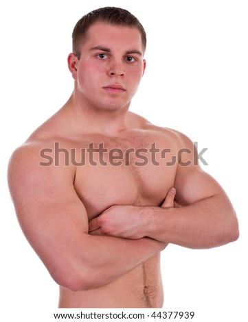 young athlete on white background - stock photo