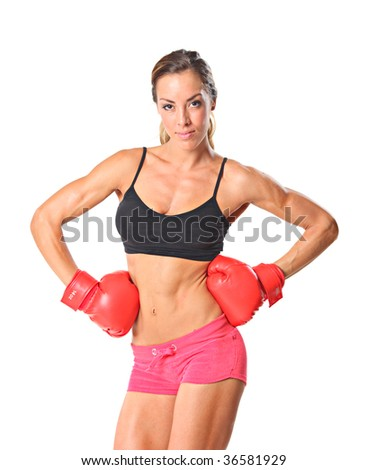 Young athlete woman ready to fight - stock photo