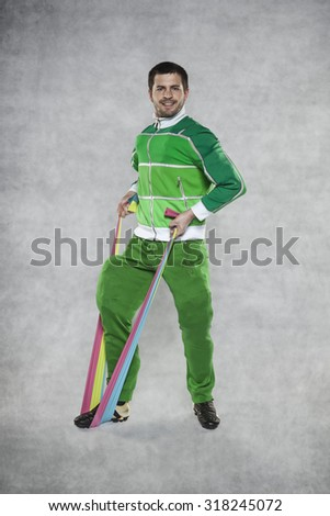 young athletic man practicing with rubber - stock photo