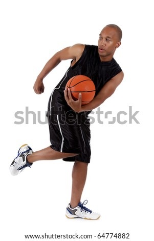 Young attractive African American  man basketball player holding the ball and running. Studio shot. White background. - stock photo