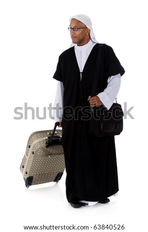 Young attractive African American man in sheikh posture dressed in arab garb, pulling his bag. Studio shot . White background - stock photo