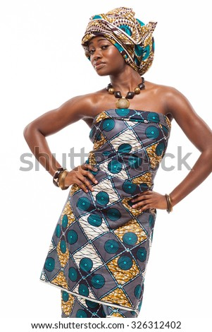 Young attractive African model in traditional dress.
