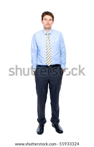 young attractive and confident businessman with his hands in pockets, full body shoot, studio shoot isolated on white background - stock photo