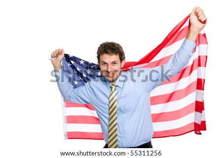 young attractive and happy businessman holds american flag, studio shoot isolated on white background - stock photo