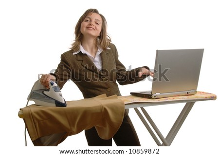 Young attractive and smiling  business woman with laptop and iron - stock photo