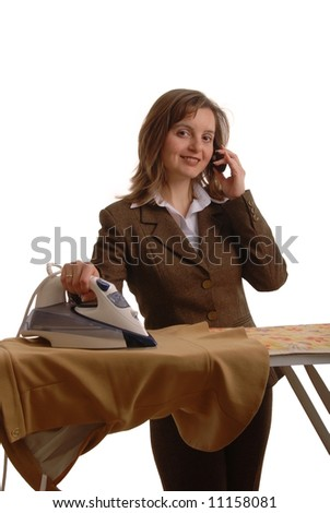 Young attractive and smiling  bussiness woman with mobile phone and iron - stock photo