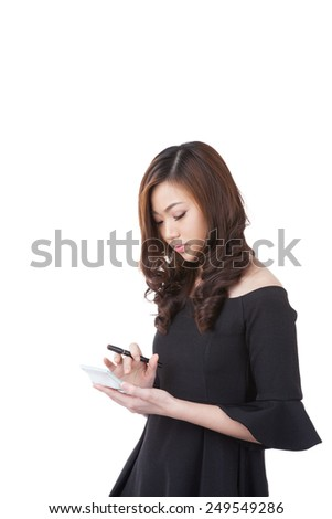 Young attractive Asian businesswoman holding a calculator, isolated on white background. - stock photo