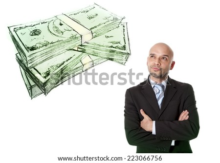 young attractive bald Hispanic businessman in suit and tie thinking about money, dollars , euros and future business and financial investments and benefits isolated on white background - stock photo