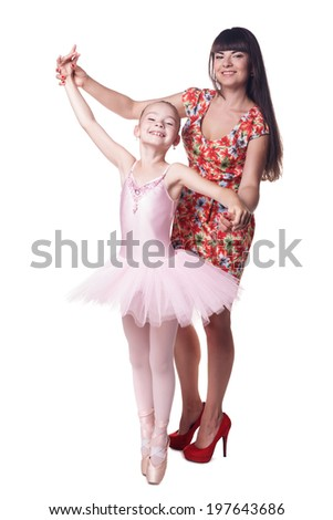 Young attractive ballerina with mother. Isolated on white - stock photo