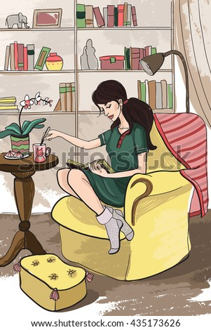 Young attractive beautiful long-haired tall girl in a dress woman housewife resting, reading a book, drinking tea, sitting in comfortable and well-furnished home library, sitting on the soft big chair - stock photo