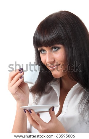 Young attractive blue eyes woman drink coffee
