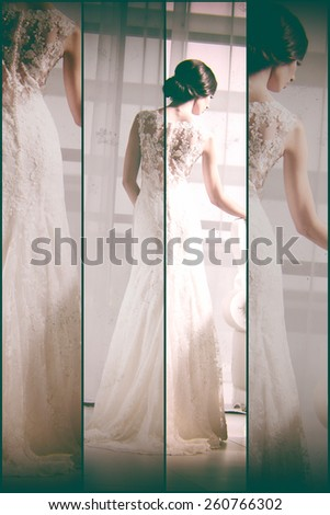 Young attractive bride. Portrait of beautiful bride. Wedding dress. Beautiful bride holding a comb. Fashion art photo collage - stock photo