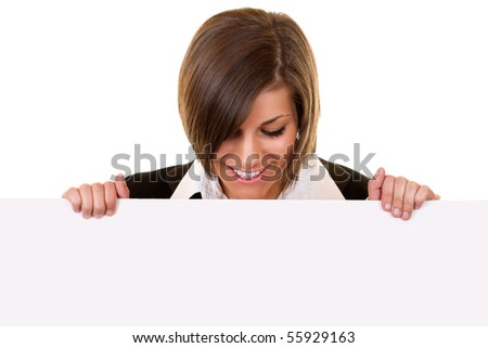 young attractive brunette girl holding big board - stock photo