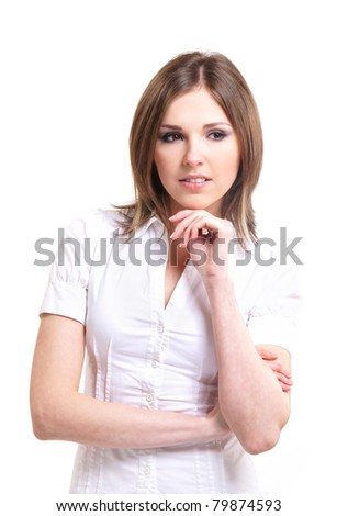 Young attractive brunette isolated over white background