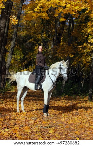 Young attractive brunette riding her white horse, wearing equestrial uniform in the autumn forest
