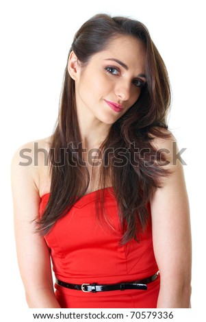young attractive brunette woman in red strapless dress, studio shoot isolated on white - stock photo