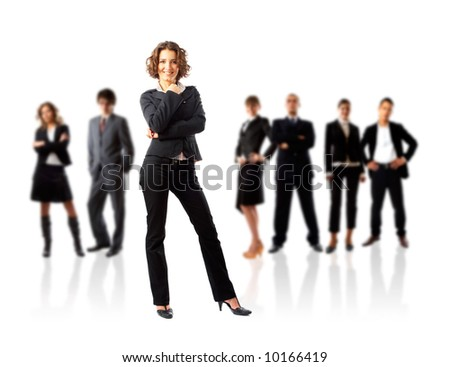 Young attractive business people, the elite business team - stock photo