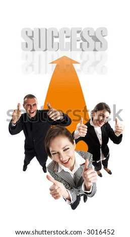 Young attractive business people with thumbs up - 3d success text in background - stock photo