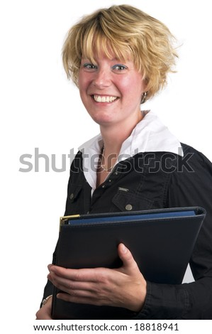 Young attractive business woman holding her paperwork