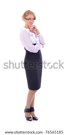 Young attractive business woman isolated on white - stock photo