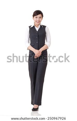 Young attractive business woman of Asian, full length portrait isolated on white. - stock photo