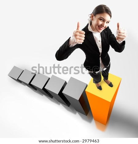 Young attractive business woman on the highest bar of a 3d graphic - stock photo