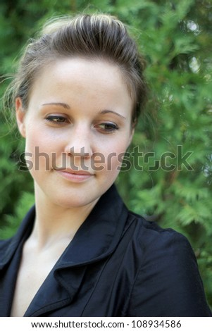 Young Attractive Business Woman Smiling - stock photo