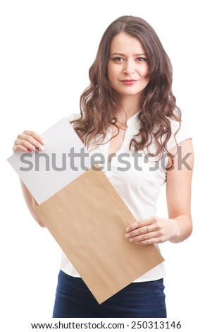 Young attractive business woman with documents