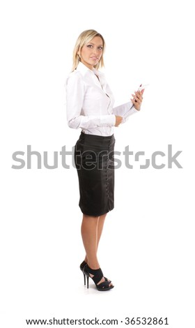 Young attractive businesswoman isolated on white - stock photo