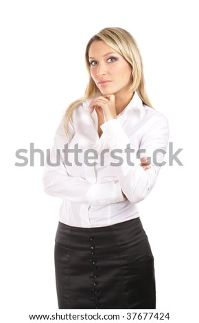Young attractive businesswoman isolated on white
