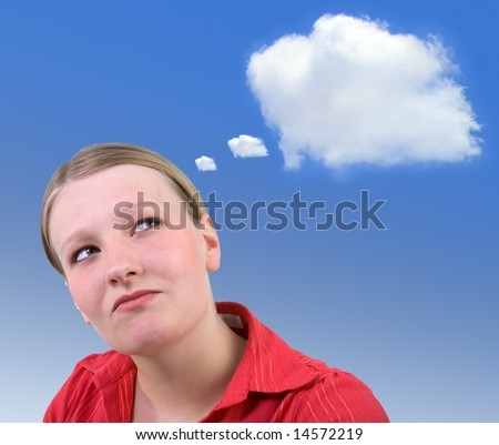 Young attractive businesswoman planning with an idea cloud for your text or image