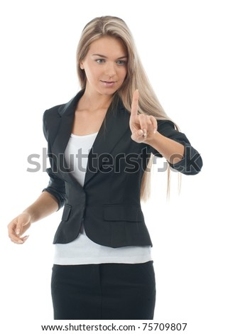 Young attractive businesswoman pressing the touchscreen button. Isolated on white. - stock photo