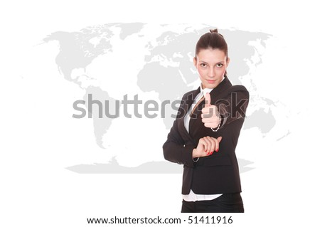 Young attractive businesswoman with world map in background - globalization