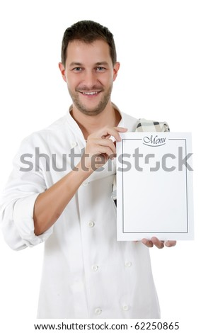 Young attractive caucasian man chef showing the menu list, blank page. Studio shot, white background - stock photo