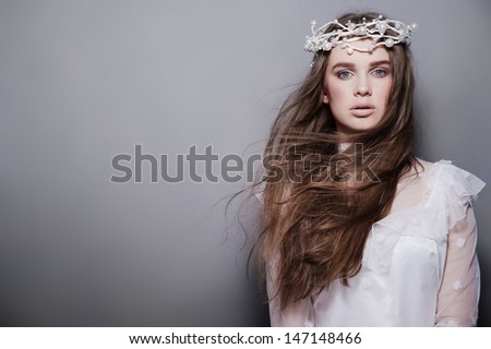 Young attractive  creative fashion bride - stock photo