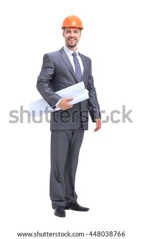 Young attractive engineer with helmet isolated on white background - stock photo