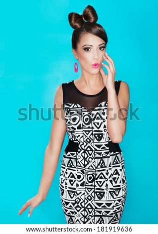 Young attractive fashionable surprised woman  - stock photo
