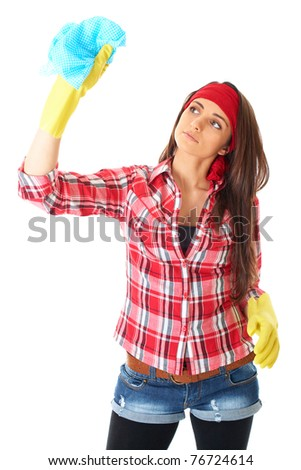 young attractive female cleaner in red shirt and yellow rubber gloves, isolated on white - stock photo