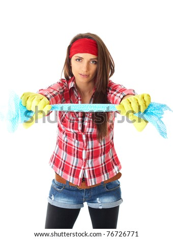 young attractive female cleaner in red shirt and yellow rubber gloves isolated on white background - stock photo