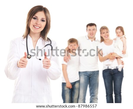 Young attractive female doctor  and family  isolated on white - stock photo