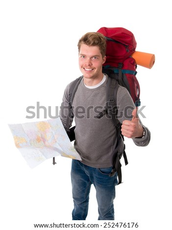 young attractive happy backpacker tourist looking map carrying big backpack ready for travel and adventure on vacations and holidays isolated on white background