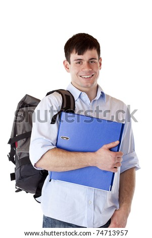 Young, attractive, happy male student with backpack and folder. Isolated on white background. - stock photo