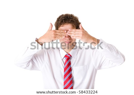young attractive male cover eyes with his hands, white shirt and red necktie, studio shoot isolated on white