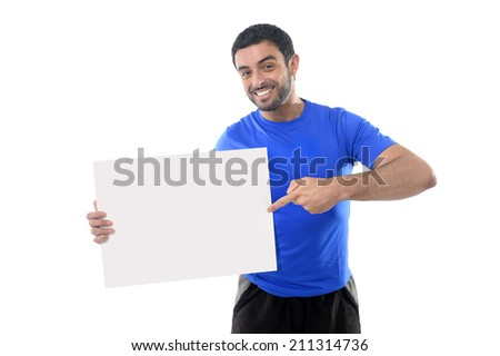young attractive man holding blank billboard as copyspace for adding text , message or gym logo for advertising and marketing in healthy lifestyle , fitness concept isolated on white background - stock photo