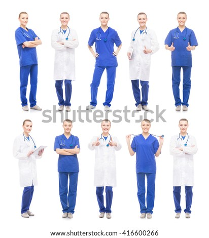 Young, attractive medical worker isolated on white. Collection of doctor in different poses. - stock photo