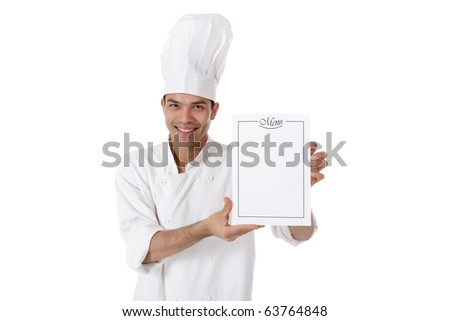 Young attractive nepalese man chef showing the menu list, blank page. Studio shot, white background - stock photo