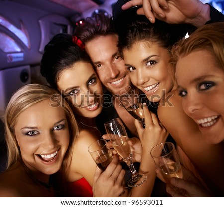 Young attractive people having party fun, drinking, laughing.? - stock photo